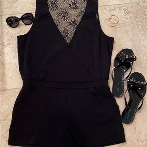 Parker romper black/lace large. New with tags